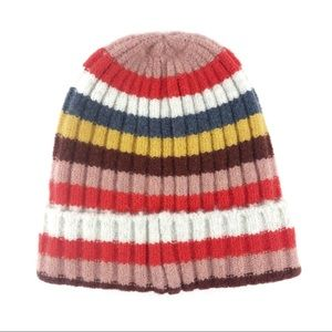 Madewell Red Multi Stripe Wool Blend Beanie